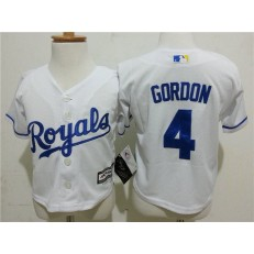 MLB Kansas City Royals 4 Alex Gordon White Cool Base Toddler Jersey