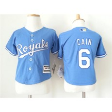 MLB Kansas City Royals 6 Lorenzo Cain Light Blue Alternate Cool Base Toddler Jersey
