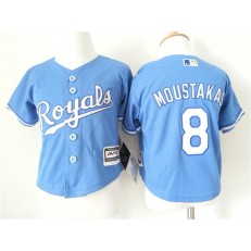 MLB Kansas City Royals 8 Mike Moustakas Light Blue Alternate Cool Base Toddler Jersey