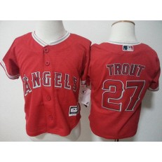 MLB Los Angeles Angels 27 Mike Trout Red New Cool Base Toddler Jersey