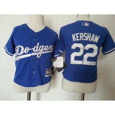 MLB Los Angeles Dodgers 22 Clayton Kershaw Blue Cool Base Toddler Jersey