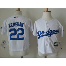 MLB Los Angeles Dodgers 22 Clayton Kershaw White Cool Base Toddler Jersey