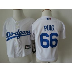 MLB Los Angeles Dodgers 66 Yasiel Puig White Cool Base Toddler Jersey