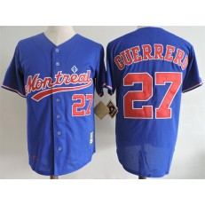 MLB Montreal Expos 27 Vladimir Guerrero Blue Mitchell And Ness 2004 Throwback Stitched Men Jersey
