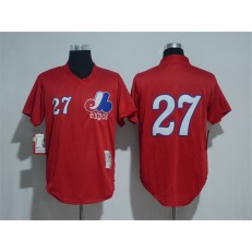 MLB Montreal Expos 27 Vladimir Guerrero Red Throwback Mitchell And Ness Men Jersey