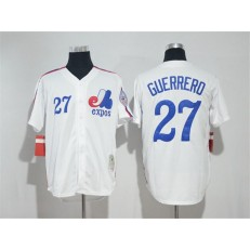 MLB Montreal Expos 27 Vladimir Guerrero White Cool Base Baseball Men Jersey