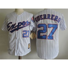 MLB Montreal Expos 27 Vladimir Guerrero White With Blue Pinstripe 2000 Throwback Men Jersey