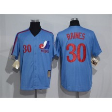 MLB Montreal Expos 30 Tim Raines 1982 Royal Blue Majestic Cool Base Cooperstown Collection Player Men Jersey