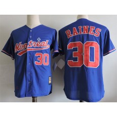 MLB Montreal Expos 30 Tim Raines Blue Mitchell And Ness 2004 Throwback Stitched Men Jersey