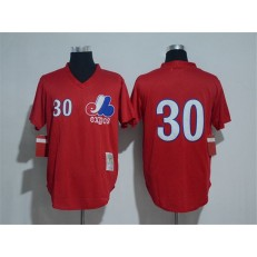 MLB Montreal Expos 30 Tim Raines Red Throwback Mitchell And Ness Men Jersey