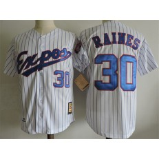 MLB Montreal Expos 30 Tim Raines White With Blue Pinstripe 1982 Throwback Men Jersey