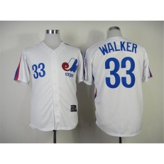 MLB Montreal Expos 33 Larry Walker 1982 White Throwback Men Jersey