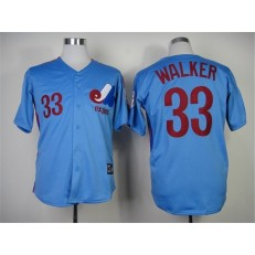 MLB Montreal Expos 33 Larry Walker Blue Throwback Men Jersey