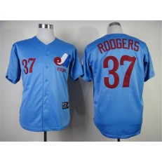 MLB Montreal Expos 37 Steve Rodgers 1982 Blue Throwback Men Jersey