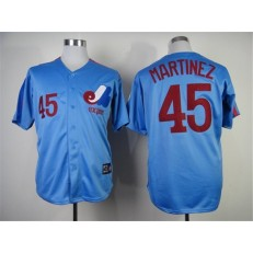 MLB Montreal Expos 45 Pedro Martinez 1982 Blue Throwback Men Jersey