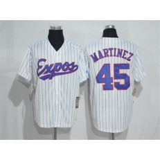 MLB Montreal Expos 45 Pedro Martinez 1982 White Pinstripe Majestic Cool Base Cooperstown Collection Player Men Jersey