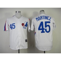 MLB Montreal Expos 45 Pedro Martinez 1982 White Throwback Men Jersey