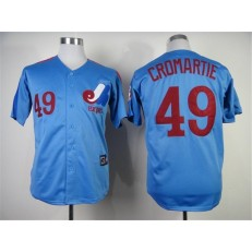 MLB Montreal Expos 49 Warren Cromartie 1982 Blue Throwback Men Jersey