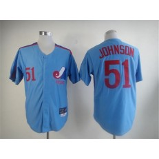 MLB Montreal Expos 51 Randy Johnson 1982 Blue Throwback Men Jersey