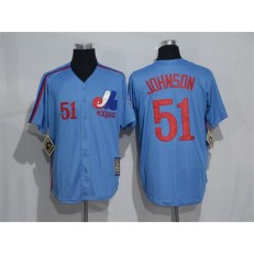 MLB Montreal Expos 51 Randy Johnson 1982 Royal Blue Majestic Cool Base Cooperstown Collection Player Men Jersey