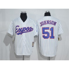 MLB Montreal Expos 51 Randy Johnson 1982 White Pinstripe Majestic Cool Base Cooperstown Collection Player Men Jersey