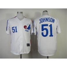 MLB Montreal Expos 51 Randy Johnson 1982 White Throwback Men Jersey