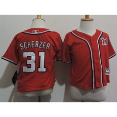 MLB Washington Nationals 31 Max Scherzer Red Cool Base Toddler Jersey