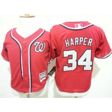 MLB Washington Nationals 34 Bryce Harper Red Cool Base Toddler Jersey