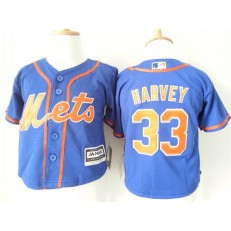 MLB New York Mets 33 Matt Harvey Blue Alternate Home Cool Base Toddler Jersey