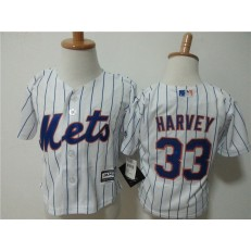 MLB New York Mets 33 Matt Harvey Home White Pinstripe Cool Base Toddler Jersey