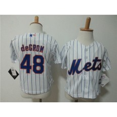 MLB New York Mets 48 Jacob DeGrom Home White Pinstripe Cool Base Toddler Jersey