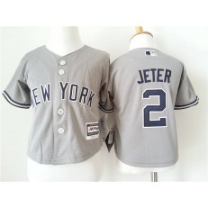 MLB New York Yankees 2 Derek Jeter Grey Cool Base Toddler Jersey
