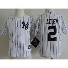 MLB New York Yankees 2 Derek Jeter White Cool Base Toddler Jersey