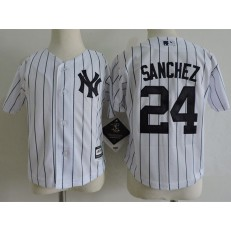 MLB New York Yankees 24 Gary Sanchez White Cool Base Toddler Jersey