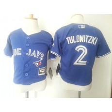 MLB Toronto Blue Jays 2 Troy Tulowitzki Blue Cool Base Toddler Jersey