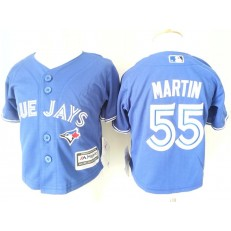 MLB Toronto Blue Jays 55 Russell Martin Blue Cool Base Toddler Jersey