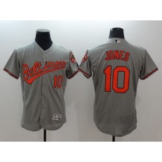 MLB Baltimore Orioles 10 Adam Jones Grey Flexbase Authentic Collection Stitched Men Jersey