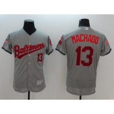 MLB Baltimore Orioles 13 Manny Machado Gray Fashion Stars & Stripes 2016 Flexbase Independence Day Men Jersey