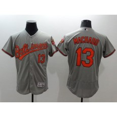 MLB Baltimore Orioles 13 Manny Machado Grey Flexbase Authentic Collection Stitched Men Jersey