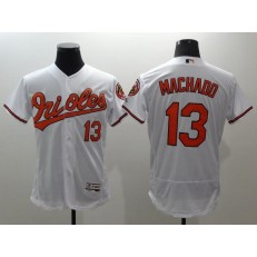 MLB Baltimore Orioles 13 Manny Machado White Flexbase Authentic Collection Stitched Men Jersey