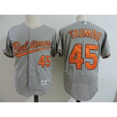 MLB Baltimore Orioles 45 Mark Trumbo Grey Flexbase Baseball Men Jersey