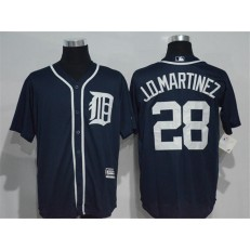 MLB Detroit Tigers 28 J. D. Martinez Navy Blue Cool Base Majestic Baseball Men Jersey