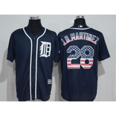 MLB Detroit Tigers 28 J. D. Martinez Navy Blue USA Flag Fashion Baseball Men Jersey