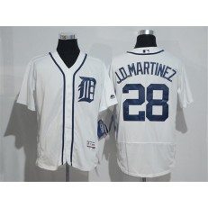 MLB Detroit Tigers 28 J. D. Martinez White Flexbase Authentic Collection Stitched Men Jersey