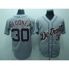 MLB Detroit Tigers 30 Magglio Ordonez Gray Men Jersey