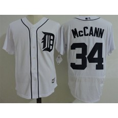 MLB Detroit Tigers 34 James McCann White Home 2016 Flexbase Majestic Baseball Men Jersey