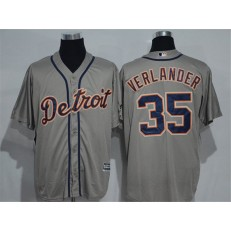 MLB Detroit Tigers 35 Justin Verlander Gray Road Stitched Baseball Men Jersey