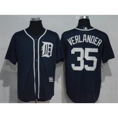MLB Detroit Tigers 35 Justin Verlander Navy Blue Cool Base Majestic Baseball Men Jersey