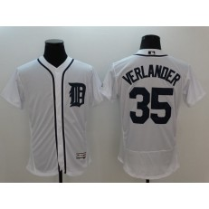 MLB Detroit Tigers 35 Justin Verlander White Flexbase Authentic Collection Stitched Men Jersey
