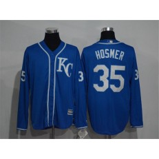 MLB Kansas City Royals 35 Eric Hosmer Navy Blue KC Long Sleeve Stitched Majestic Cool Base Men Jersey